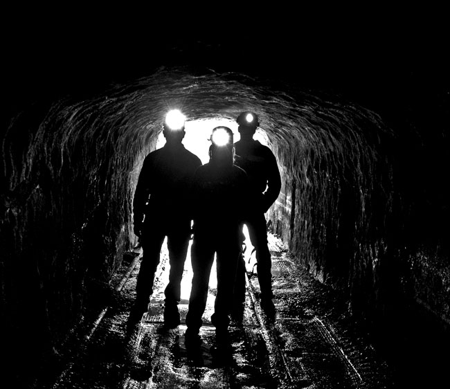 Miners in a tunnel