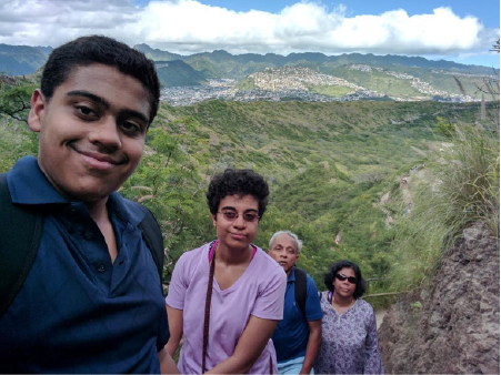 The Raj family hiking in Hawaii