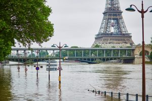 Seine River overflowing Paris
