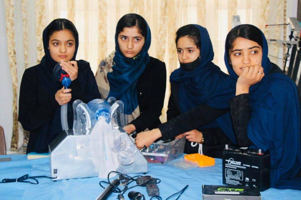 Afghan-Girls-Robotics-Team-Building-Respirator